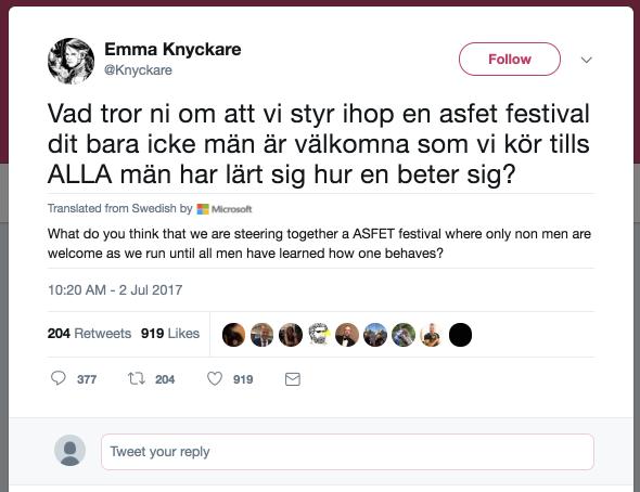 Emma Knyckare on Twitter